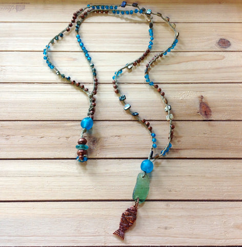 Double Pendant Roman Glass Necklace