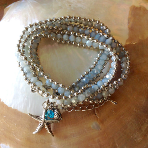 Jeweled Shell Starfish Wrap Bracelet