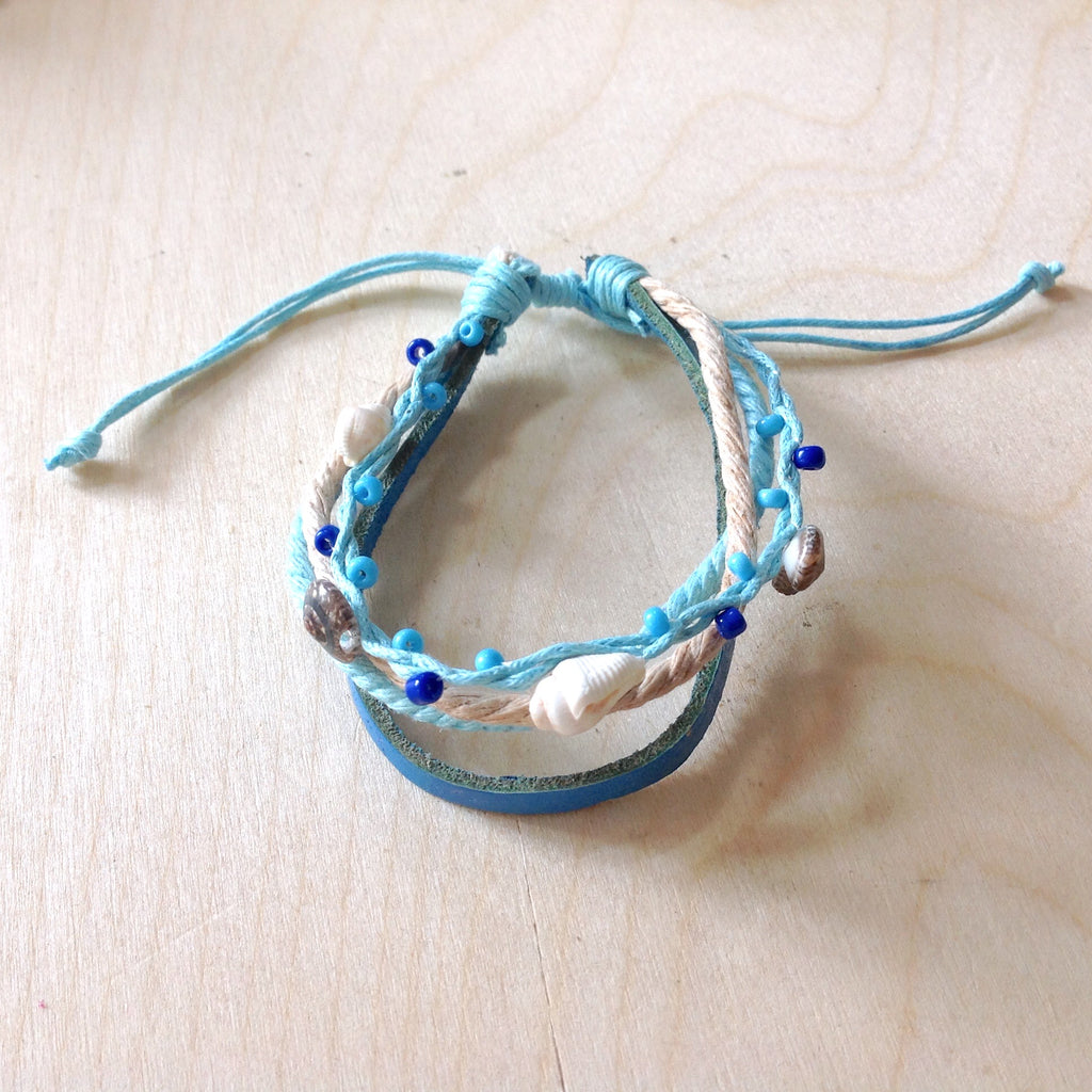 Multi Strand Leather Shell Bracelet