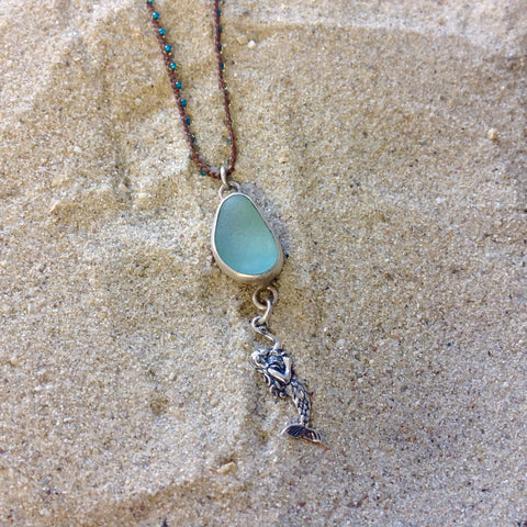 Seaglass Mermaid Pendant Necklace