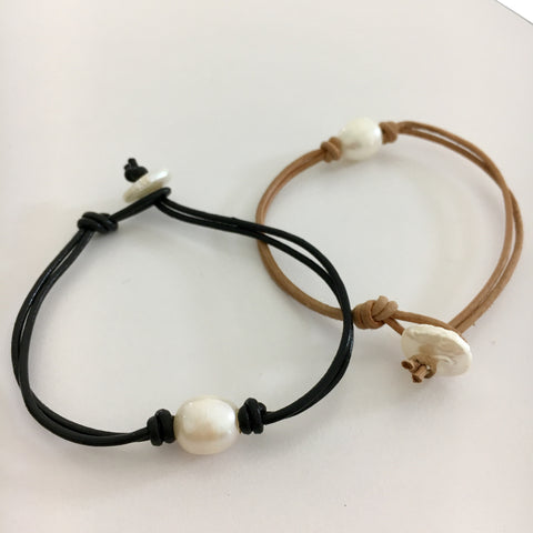 Leather Pearl Knot Bracelet