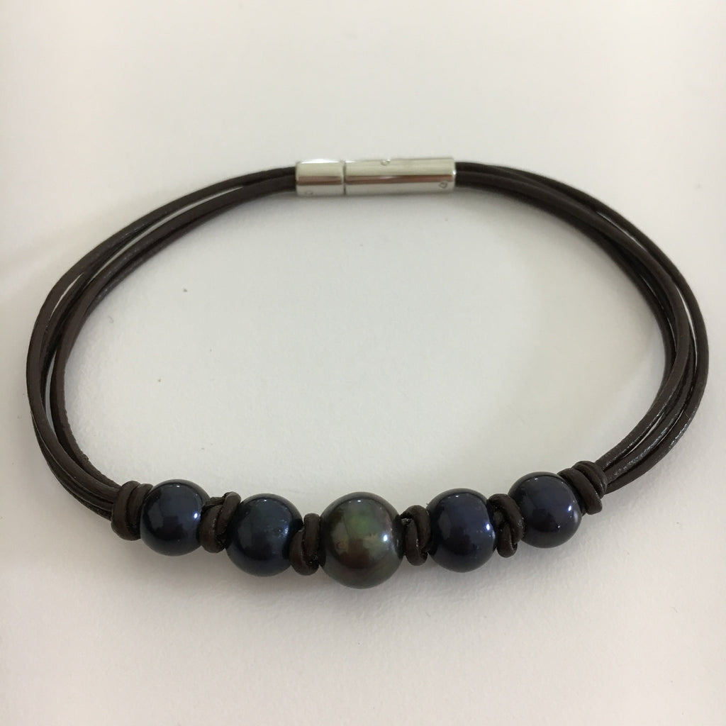 Dark Pearl Leather Bracelet