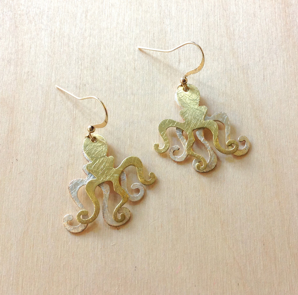 Double Octopus Brass Earrings