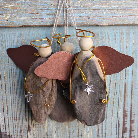 Driftwood Halo Angel Ornaments
