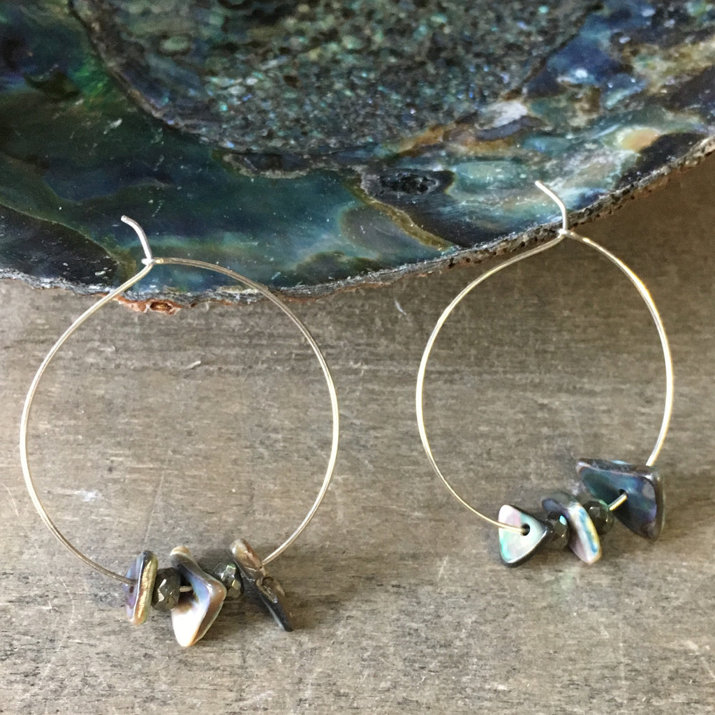 Abalone Chips Hoop Earrings