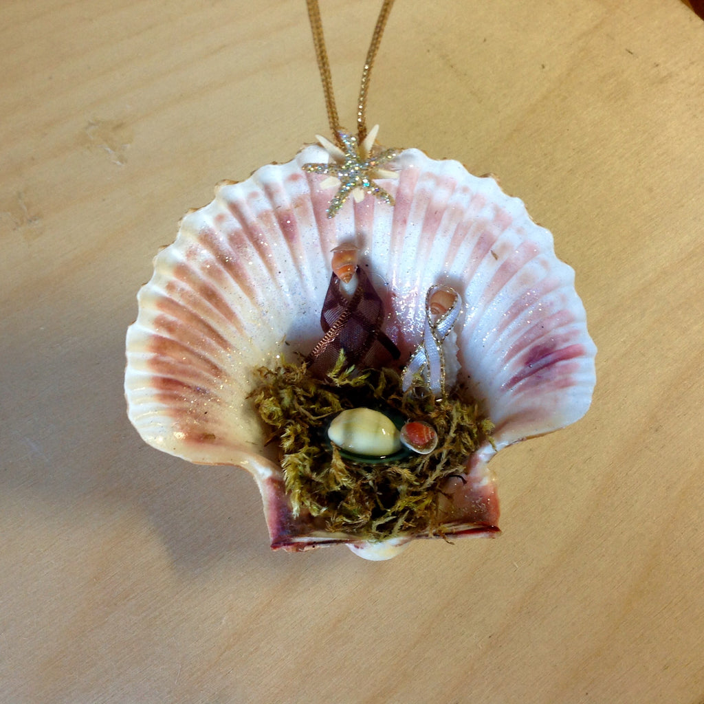 Manger Scene Shell Ornament