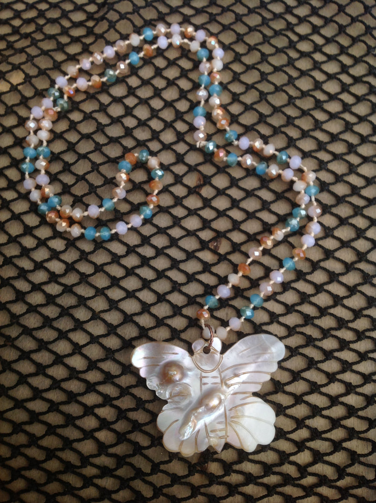 Pearlescent Butterfly Necklace
