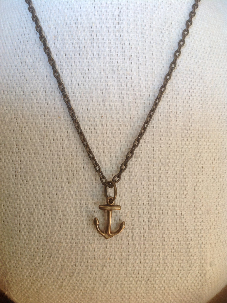 Rustic Bronze Anchor Necklace