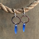 Seaglass Crystal Drop Hoop Earrings