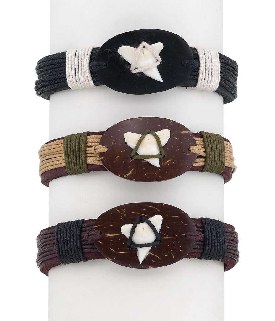 Shark Tooth Coco-Leather Bracelet