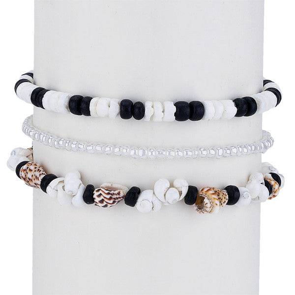 Black and White Shell Bracelet Set