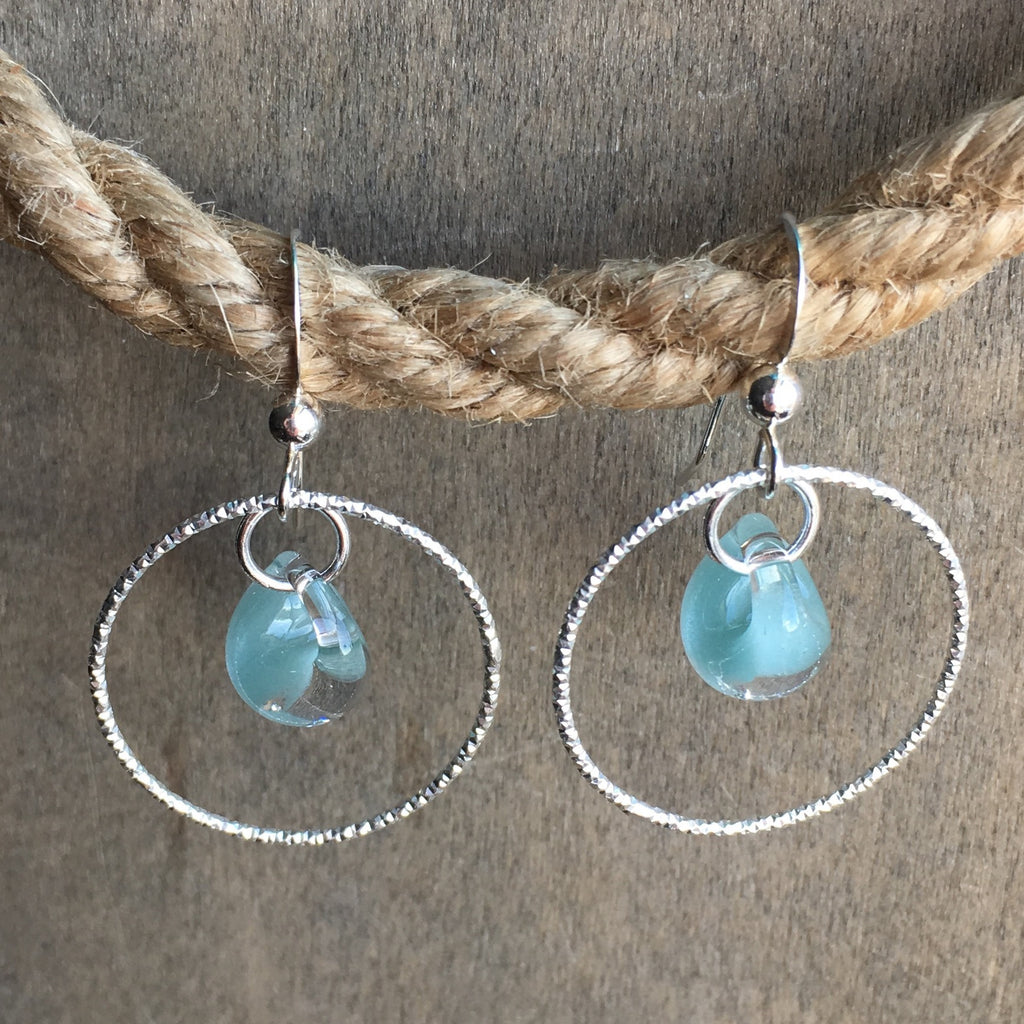 SeaFoam Seaglass Hoop Earrings