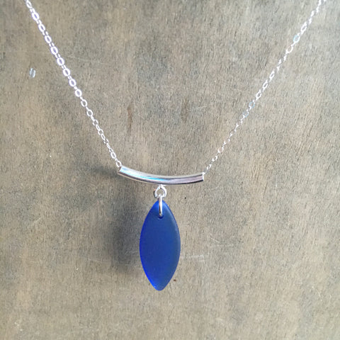 Cobalt Seaglass Drop Necklace
