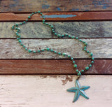 Seafoam Patina Starfish Necklace