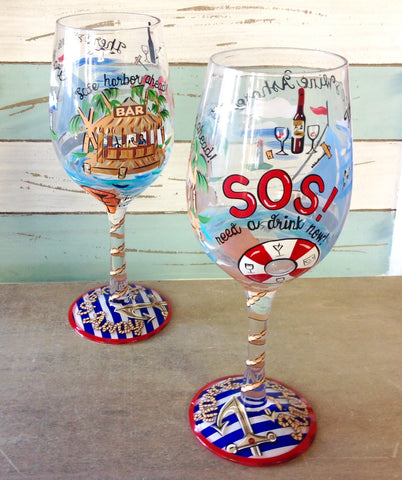 Anchors Away Wine Glass