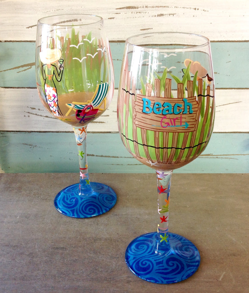 Beach Girl Painted Wine Glass
