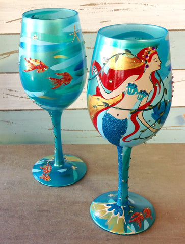 Mermaid Painted Wine Glass