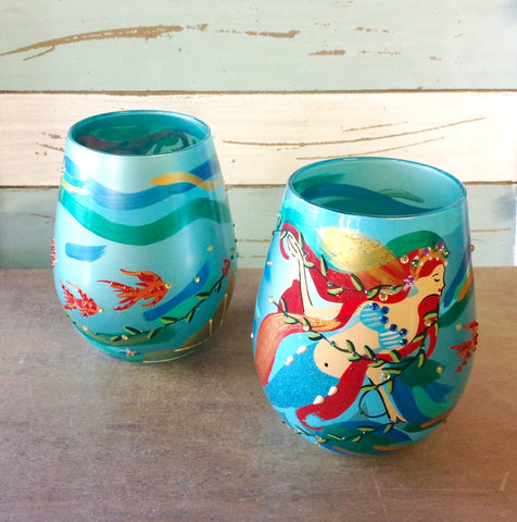 Mermaid Painted Stemless Wine Glass