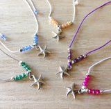 Starfish Crystal Cord Necklace