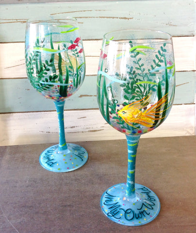 Ocean World Painted Wine Glass