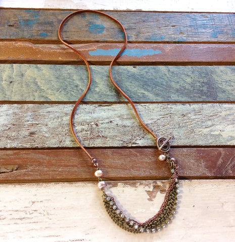 Multi Chain Leather & Pearl Necklace