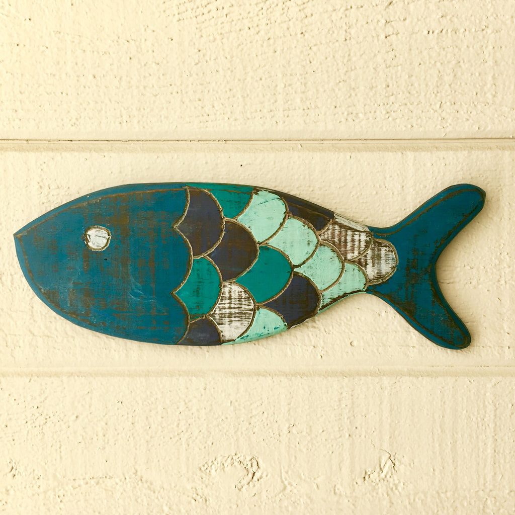 Wooden Painted Fish Wall Art