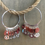 Capiz Silver Hoop Earrings