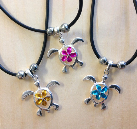 Plumeria Turtle Necklace