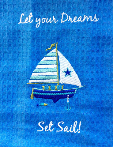 Embroidered Sail Boat Towel