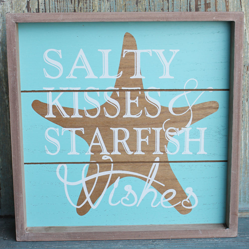 Starfish Wishes Wood Sign