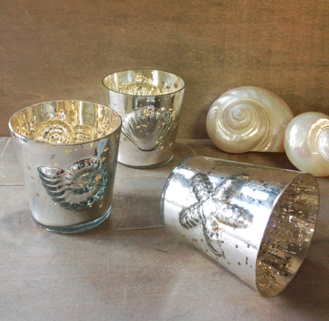 Seashell Mercury Glass Candle Holder
