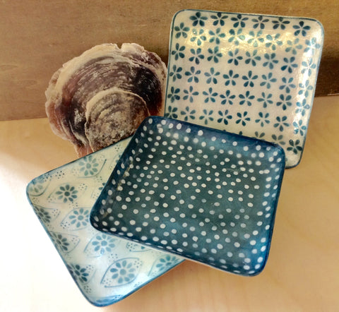 Blue Art Capiz Plates