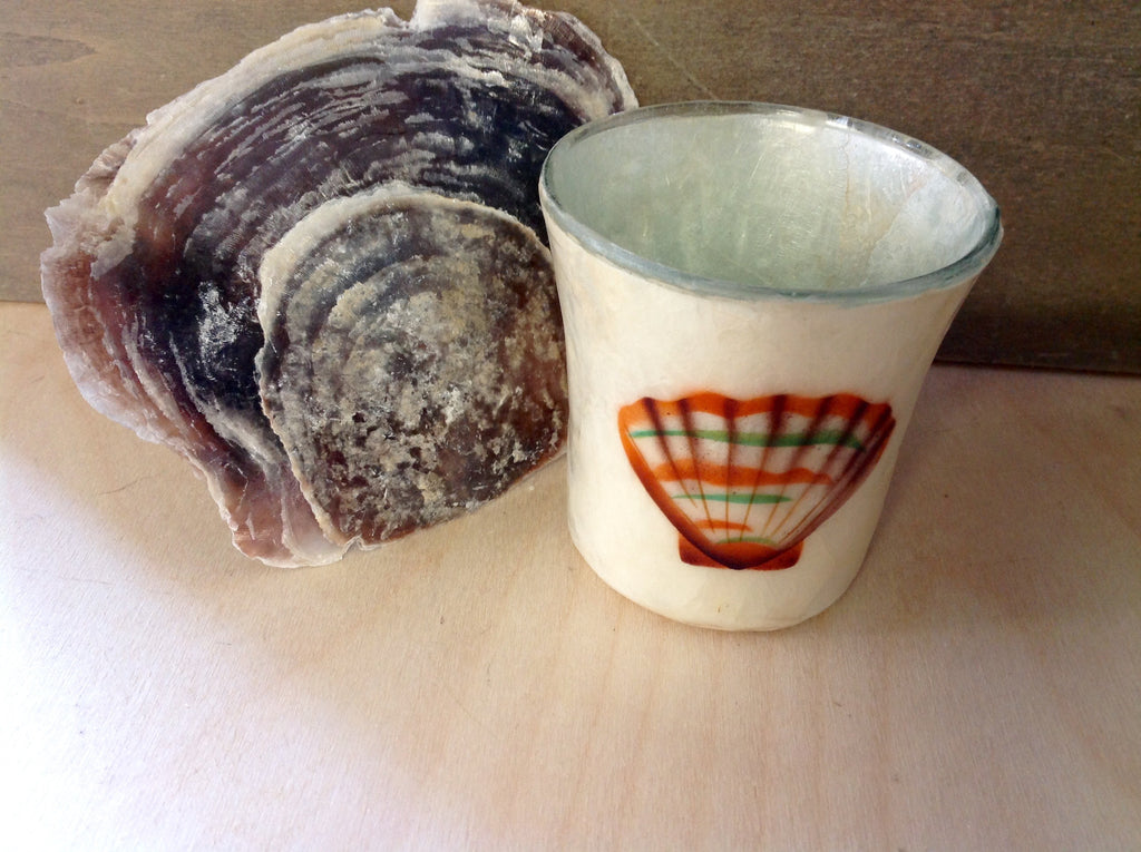 Capiz shell candle