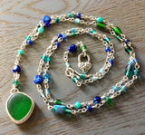 Emerald Sea Glass Beaded Necklace