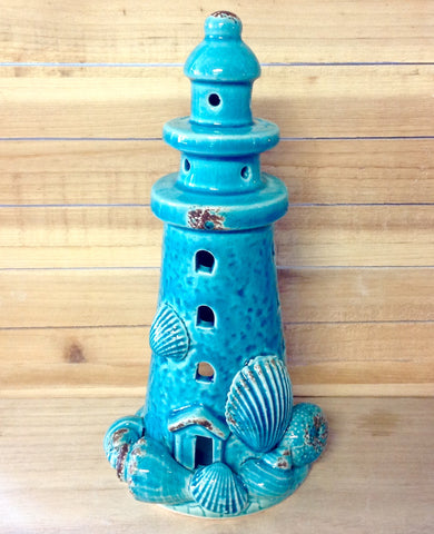 Ceramic Lighthouse Candle Holder