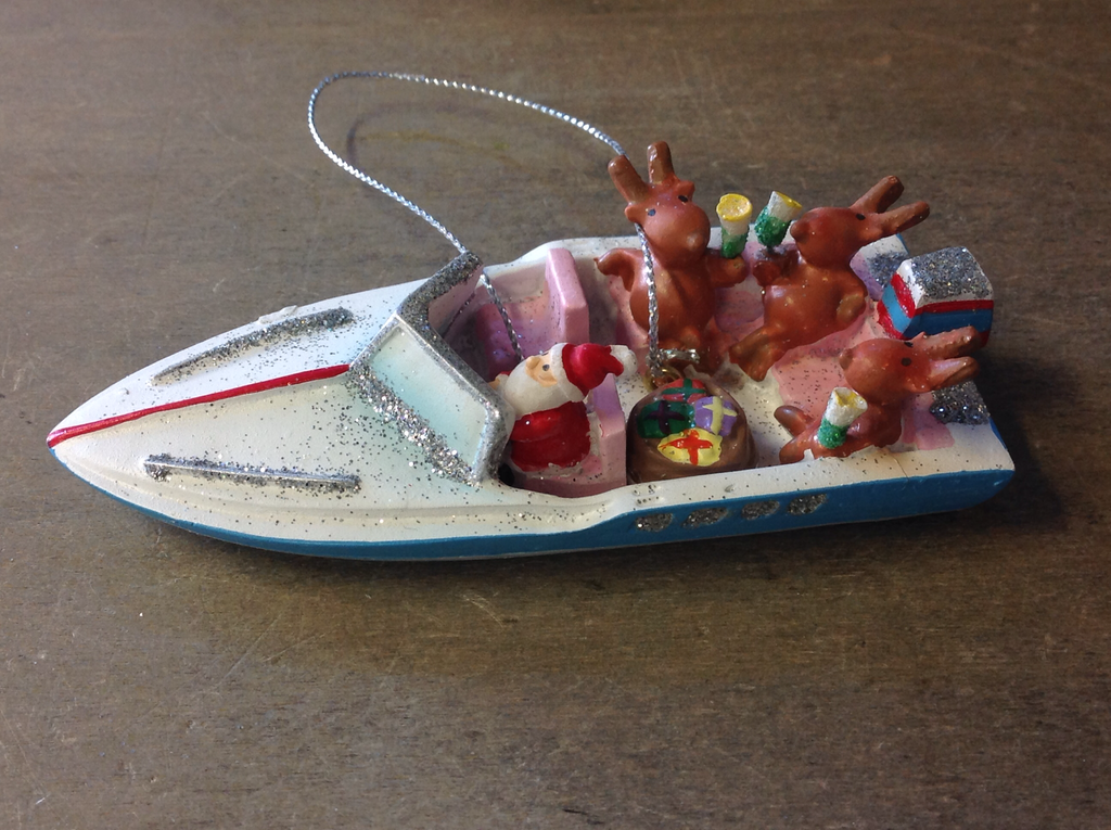 Santa Party Boat Ornament
