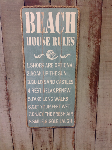 Beach House Rules Sign