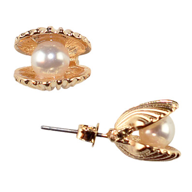 Clamshell Pearl Studs