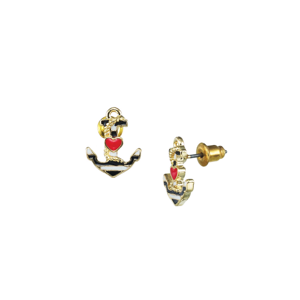 Anchor Heart Earring Studs