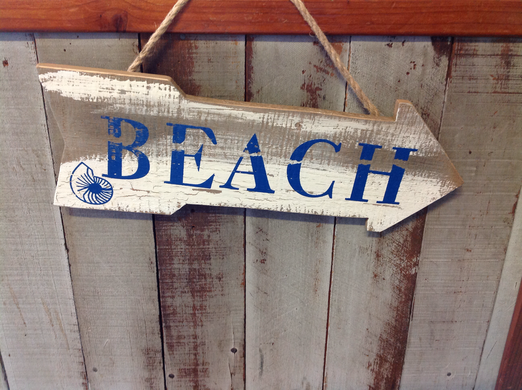 Beach Nautilus Arrow Wood Sign