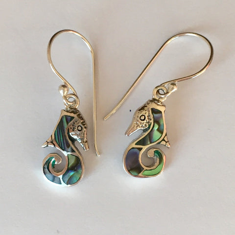 Abalone Dainty Seahorse Earrings