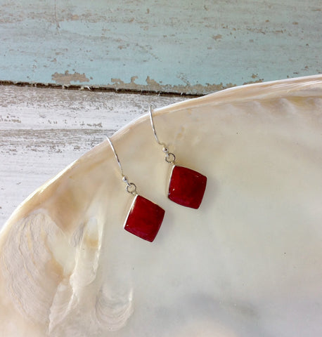 Red Coral Diamond Earrings