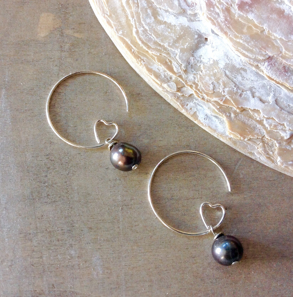 Deep Sea Pearl Hoop Earrings