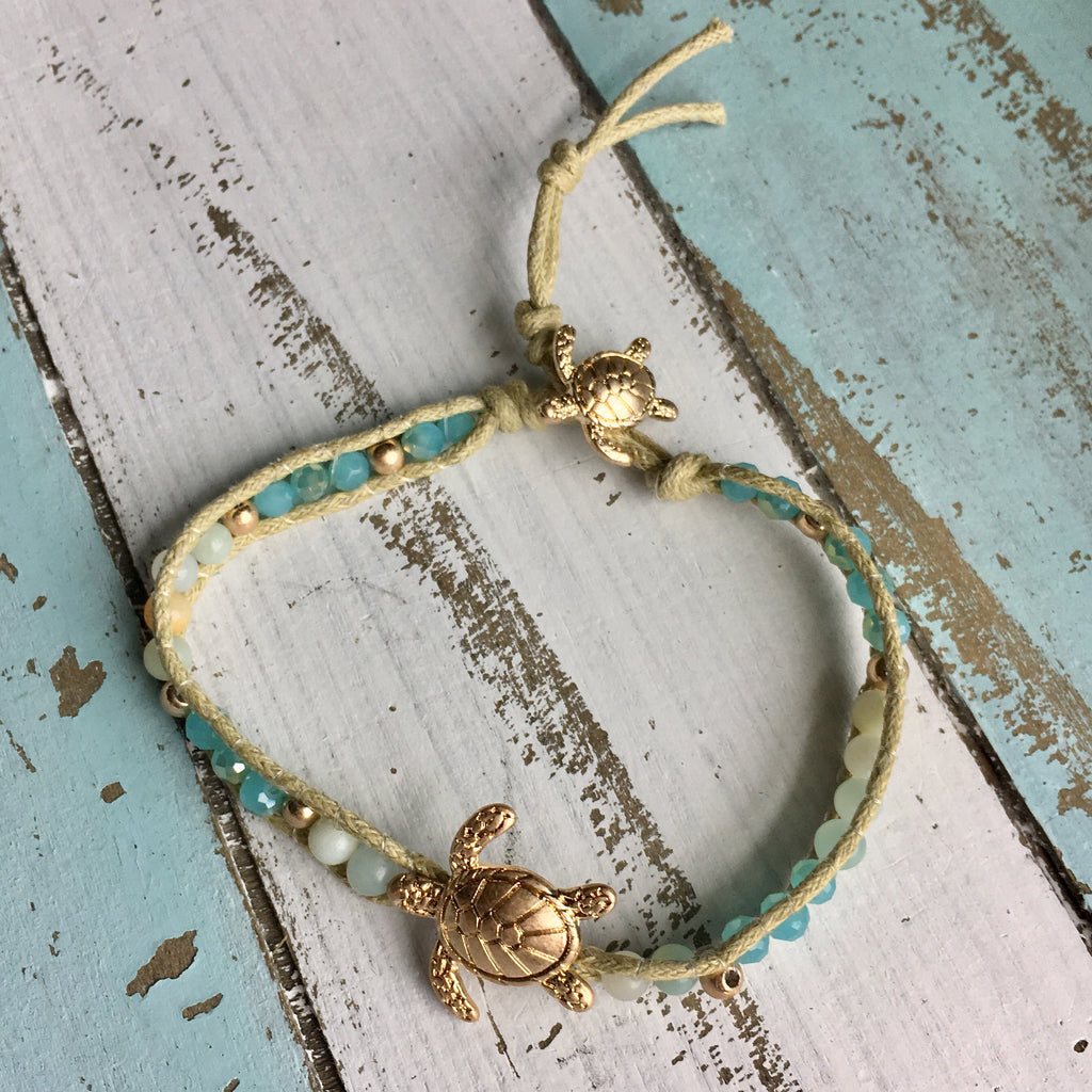 Golden Sea Turtle Button Bracelet