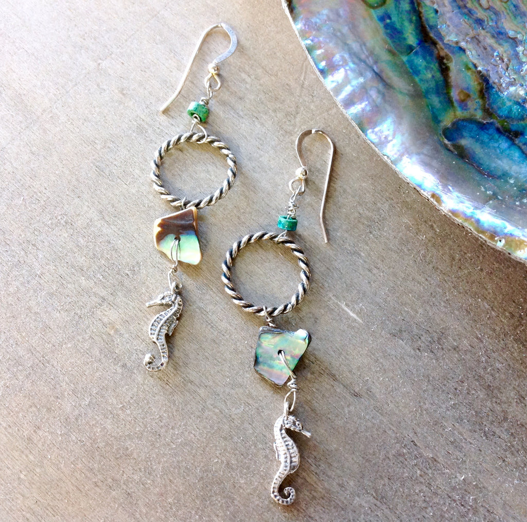 Abalone Seahorse Earrings