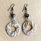 Abalone Donut Chip Earrings