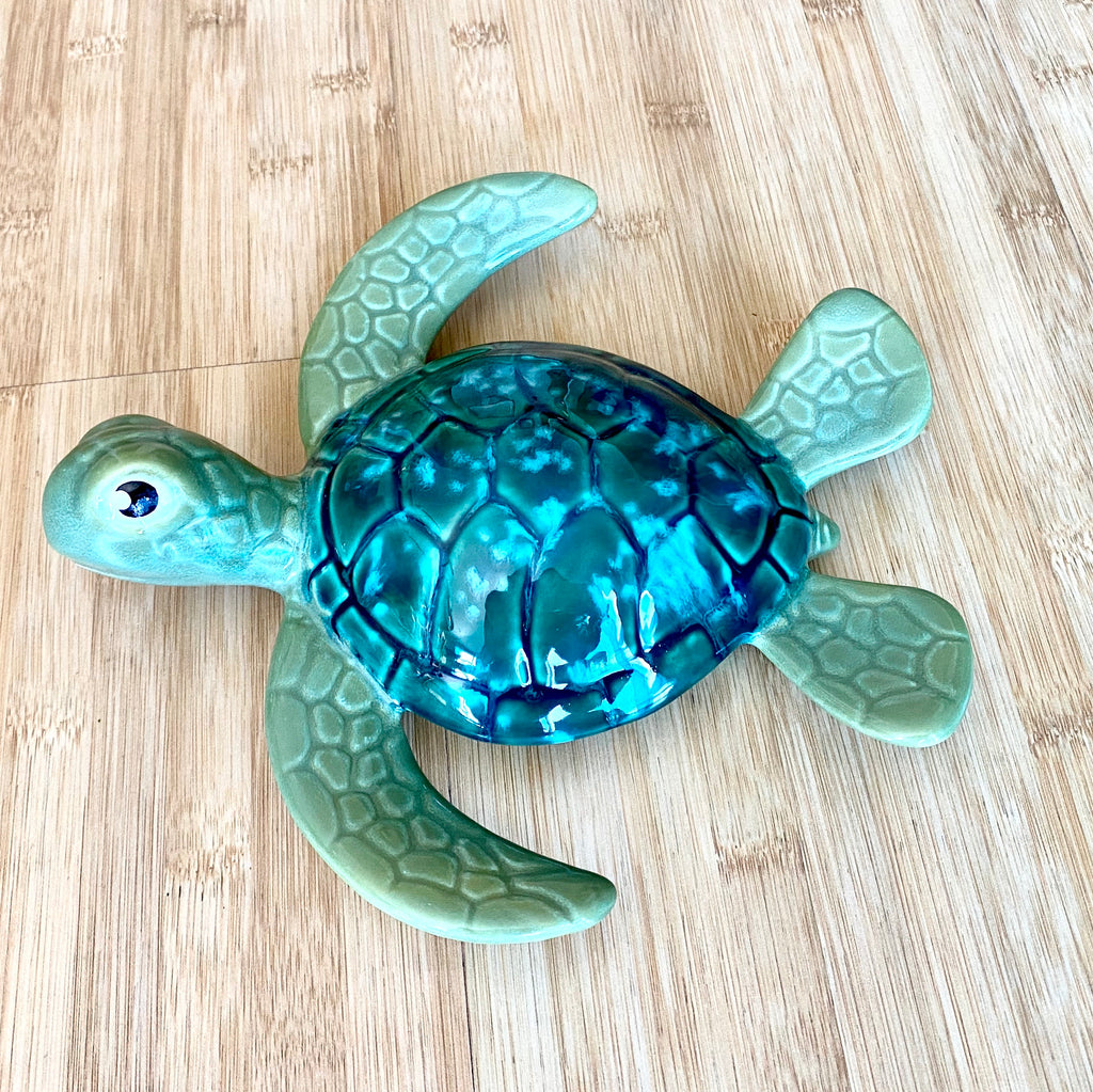 Raku Pottery Green Turtle