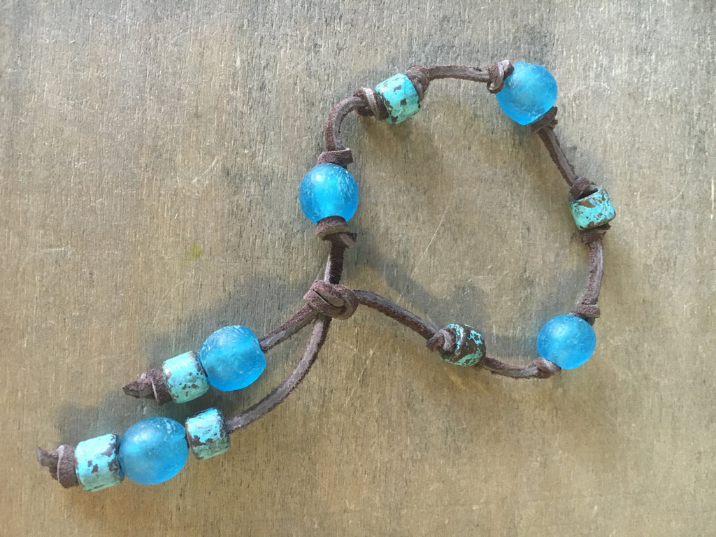Seaglass Leather Bracelet