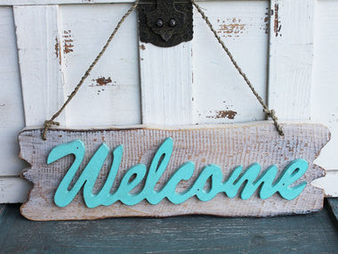 Aqua Welcome Sign