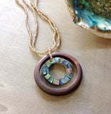 Mosaic Abalone Wood Jewelry Earrings and Necklace